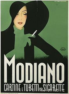 Vintage retro Art Deco advertising poster for Modiano Cigarettes Vintage French Posters, Pub Vintage, Vintage Advertising Posters, Poster Vintage, Vintage Travel Posters, Vintage Advertisements, Vintage Italian, Italian Posters, Italian Art