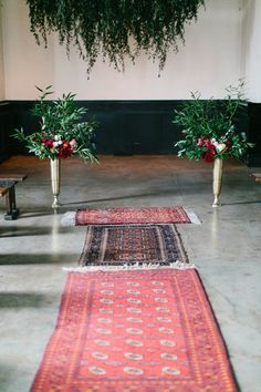 ceremony aisle with antique rugs - photo by Maria Lamb http://ruffledblog.com/a-bohemian-wedding-in-portland