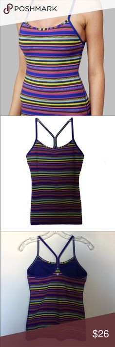 Lululemon striped power Y tank top - size 6 Lululemon power Y tank - size 6.  Multi-striped tank with built-in bra. Great pre-loved condition. lululemon athletica Tops Tank Tops