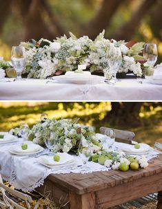 Southern wedding, down south, peach, peaches, centerpiece, green tomatoes, lace, succulents, cotton
