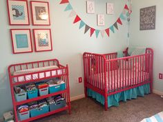 Jenny Lind style red crib & changing table in homemade chalk paint