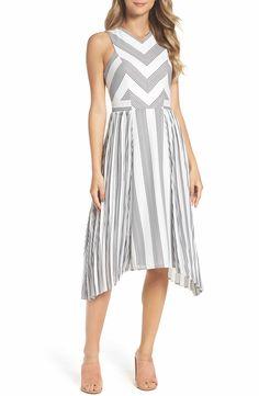 5c363f927786 Adelyn Rae Vidette Pleated Stripe Midi Dress