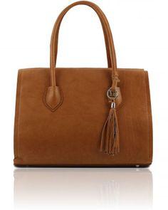 TL BAG TL141091 Soft leather bag with tassel detail and shoulder strap