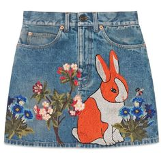 Gucci Embroidered Stained Denim Mini Skirt ($1,980) ❤ liked on Polyvore featuring skirts, mini skirts, bottoms, high waisted mini skirt, denim skirt, vintage skirts, high waisted floral skirt and blue skirt