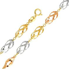 """14K 3 Tri-color Gold Fancy Designer Bracelet with Spring Ring Clasp - 7"""" + 1"""" Inches Extension GoldenMine. $172.05. Save 51%!"""