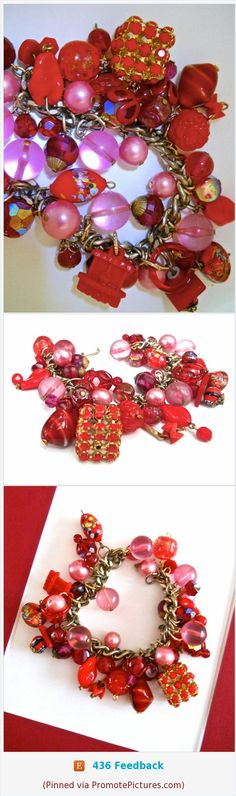 Red & Pink Charm Bracelet, Venetian Glass Pearls Lucite, Vintage #bracelet #charmbracelet #artglass #Lucite #red #pink #venetianglass #vintage #heavy https://www.etsy.com/RenaissanceFair/listing/574115918/red-pink-charm-bracelet-venetian-glass?ref=listings_manager_grid  (Pinned using https://PromotePictures.com)