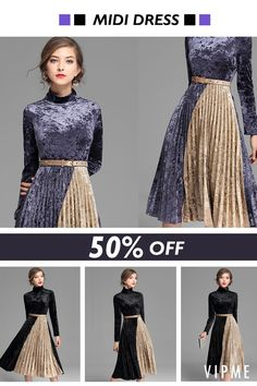 Nothing looks quite as rich and inviting as velvet! Whether you're going for a slinky evening look or a sophisticated work vibe, velvet hits the mark every time. Free DHL shipping on orders $99+ from PST Jan 13th to 19th. Shop this pleated velvet dress with a huge 67% off in VIPme.com.