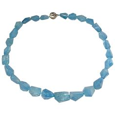 Jona Aquamarine Crazy Cut Necklace | From a unique collection of vintage beaded necklaces at https://www.1stdibs.com/jewelry/necklaces/beaded-necklaces/