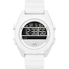 The adidas Originals Santiago XL Digital watch blends sports functionality with originals style. An XL version with a 50mm wide face and easy function digital screen. Made with a durable and adjustable silicone strap, LCD dial with date, timer, light and alarm function powered by a Quartz battery and is Water resistant to 100 Metres.