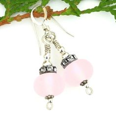 """Sweet and feminine """"Pink Decadence"""" handmade earrings created with frosted pink lampwork beads, Czech glass crystal rondelles and sterling silver."""