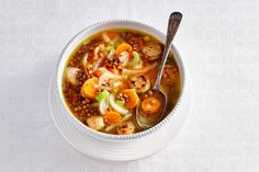 Kijk wat een lekker recept ik heb gevonden op Allerhande! Linzensoep met bleekselderij, wortel, ui en worst