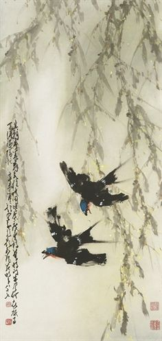 Zhao Shao'ang - Two Swallows: 1905: by Zhao Shao'ang