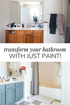 Did you know you can do an entire bathroom makeover with nothing but paint? Check out this incredible master bathroom makeover completed almost entirely with paint products! Treatment Projects Care Design home decor Small Bathroom, Master Bathroom, Bathroom Ideas, Restroom Ideas, Bathrooms, Bathroom Before After, Shower Surround, Diy Cleaning Products, Cleaning Hacks