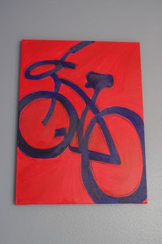 Bike painting for the boys' room - L wanted a blue bike on a red background