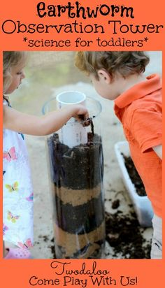 Twodaloo - http://www.two-daloo.com/2013/06/06/worm-observation-tower/ Earthworm observation tower - science for toddlers