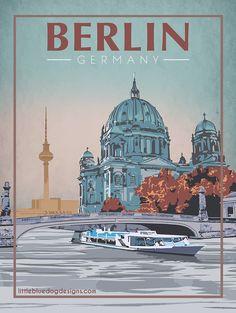 Berlin Germany - Vintage Travel Poster - New Ideas Retro Poster, Poster Art, Kunst Poster, Art Deco Posters, Vintage Travel Posters, Poster Prints, Posters Paris, Travel Sticker, Berlin