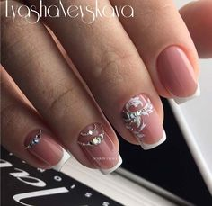 Best Nail Art Ideas for Brides - Diamonds and French Tip in Nude - Simpe, Cute, DIY NailArt Tutorials That Are Step By Step For Brides. Everything From The Wedding Manicure To French Tips To Simple Sparkle and Bling For The Ring Finger. These Are Super Fun And Super Easy. - https://thegoddess.com/nail-art-ideas-for-brides