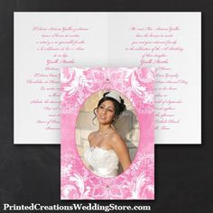This Watercolor Lace Invitation features your photo surrounded by a lace frame in your choice of ink color. Plenty of space for sharing all the details when inviting guests to your daughter's Quinceanera celebration.  See this design and many more at www.PrintedCreations.carlsoncraft.com.  #quinceanerainvitations  #quincenera  #quinceanos