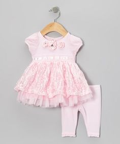 Take a look at this Pink Ribbon Rosette Puff-Sleeve Top & Leggings - Infant by Nannette Baby on #zulily today!