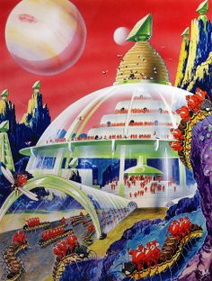 Retro-Futuristic City, Colony, Science Fiction