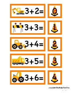 """This digital download consists of printable math facts featuring a construction theme.  Perfect to print and cut out for use during quiet time, in a pocket chart, or during group instruction.  Laminate for increased durability.  Pieces measure 1.5""""x3"""" and 1.5""""x1.5"""" when cut."""