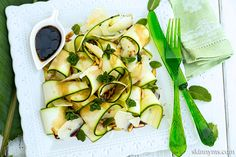 Zucchini Ribbon Salad With Pine Nuts--a low carb, delicious recipe you'll  make again and again!  #zucchini #salad #lowcarb