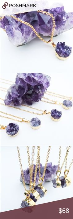"""LAST 3!!  !24k Gold Plated Raw Amethyst Necklace ONLY 4 LDFT!!! 24k gold plated raw amethyst necklace from Twilight Gypsy Collective, the """"Raw Amethyst Healing necklace"""".  18"""" chain, amethyst approx .5"""" in diameter. In addition the beautiful purple and gorgeous crystalline structure, the designers state that amethyst is commonly believed to promote healing and peace, strengthening personal spiritual growth and dissolving violence. Absolutely stunning!  Natural beauty that is everlasting…"""
