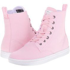 Dr. Martens Hackney 7-Eye Boot (Bubblegum Canvas) Women's Lace-up... ($45) ❤ liked on Polyvore featuring shoes, boots and pink