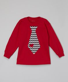 Look at this Beary Basics Red Chevron Tie Tee - Toddler & Boys on #zulily today!
