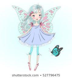 Cartera de fotos e imágenes de stock de Oksana Lysak | Shutterstock Cool Clipart, Fairy Clipart, Royalty Free Images, Royalty Free Stock Photos, Little Girl Drawing, Fairy Dolls, Doll Face, Illustration, Pop Art