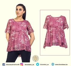 Find Wide collection of women dresses in Ajman and all over the UAE. Buy now Round Neck Loose Floral Dress Online from our store and get discounts. Online Shopping Uae, Dresses Online, Dubai, Tunic Tops, Floral, Clothing, Stuff To Buy, Shirts, Collection