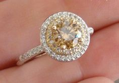 1.10 ct VVS Round NATURAL DEEP CANARY YELLOW DIAMOND Engagement Ring 14K WG New