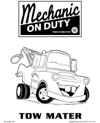 disney cars tow mater coloring page