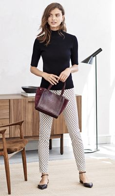 Our flattering patterned pant are a definitely wardrobe must have! Pair them with your favorite flats and a classic turtleneck for an effortlessly chic look   Banana Republic