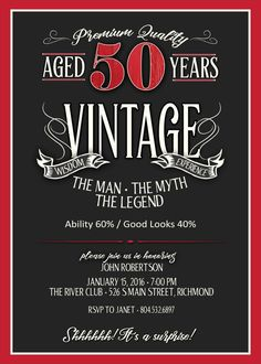 50th Birthday Invitation for Men - JPEG printable - Aged to Perfection - Over the Hill Birthday - Mens 50th Birthday - Whiskey Label
