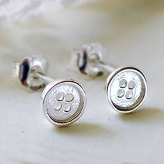 Tiny Silver Button Stud Earrings from notonthehighstreet.com