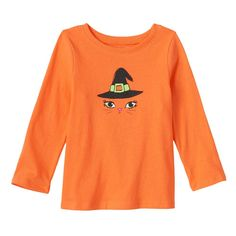 Baby Girl Jumping Beans® Glittery Halloween Tee, Size: 3 Months, Med Orange