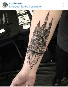 Black and gray castle tattoo by @scottmove