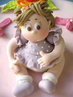 Girl Porcelana fria polymer clay masa flexible pasta francesas cake topper modelado modelling 3d figurine