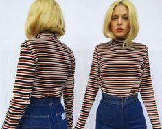 b81b83758 Vintage 80s Sunrise Black Burgundy Red Striped Fitted Ribbed Fall Shirts, Striped  Turtleneck, Sunrise