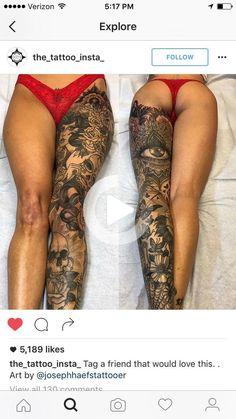 One leg tattoos; Full Leg Tattoos, Hand Tattoos For Women, Full Sleeve Tattoos, Tattoo Women, Girls With Sleeve Tattoos, Full Body Tattoo, Tattoo Sleeves, Badass Tattoos, Hot Tattoos