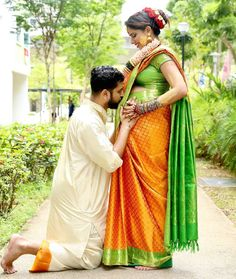 Image may contain: 2 people, people standing and outdoor Maternity Photography Poses, Maternity Poses, Maternity Pictures, Shower Pics, Baby Shower Photos, Night Wedding Photos, Wedding Ideas, Couple Pregnancy Photoshoot, Indian Baby Showers