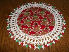Gingerbreadmen Christmas Cookies Doily Crocheted by bestdoilies, $20.00
