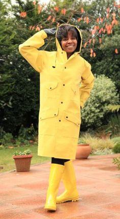 mallik trench and yellow rain boots