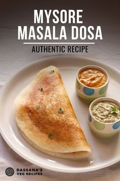 Mysore masala dosa is a crisp and soft dosa spiced with red chutney and served with a potato dish, along with coconut chutney. The recipe is like the Mysore masala dosa served in the Bangalore and Mysore restaurants. Veg Recipes Of India, Indian Food Recipes, Vegetarian Recipes, Cooking Recipes, Vegan Vegetarian, Masala Dosa Recipe, Comida India, Famous Recipe, Indian Breakfast
