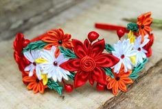 Kanzashi roja diadema colores casco corona con por Golubchak