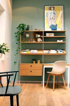 String Bureau met inklapbare tafel - eik wit Decor, Furniture, Shelves, Interior, Oak Desk, Shelving, Living Spaces, Office Desk, Desk Shelves