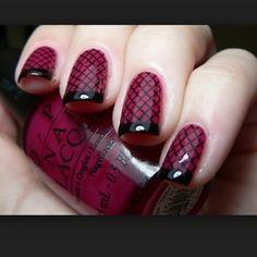Maroon and black nails