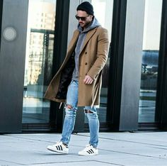 Beige coat and ripped jeans with hoodie