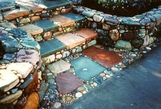 Stone Steps Mosaic Garden Design...Love these COLORS! (Landscape Step Ideas)